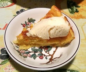 Torta kefir e pesche con gelato